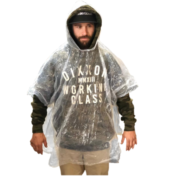 CLEAR HOODED RAIN PANCHO