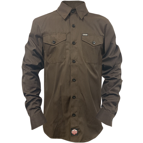WORKFORCE LONG SLEEVE BUTTON UP BROWN-BLACK - MENS