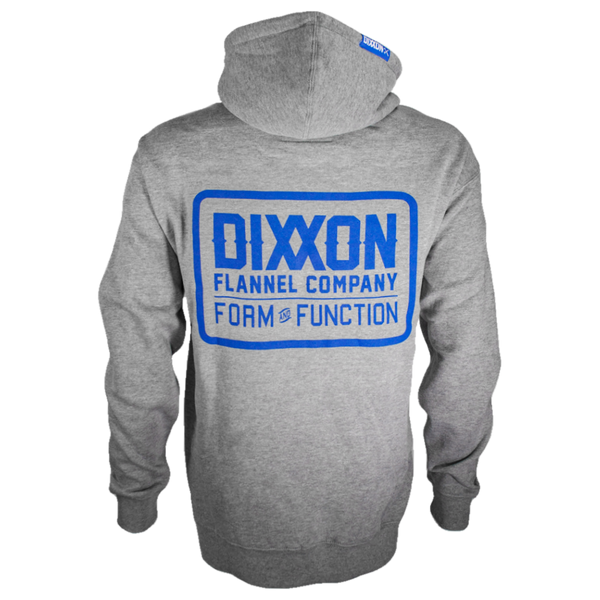 CLASSIC BLUE LOGO ZIP HOODIE HEATHER GREY - MENS