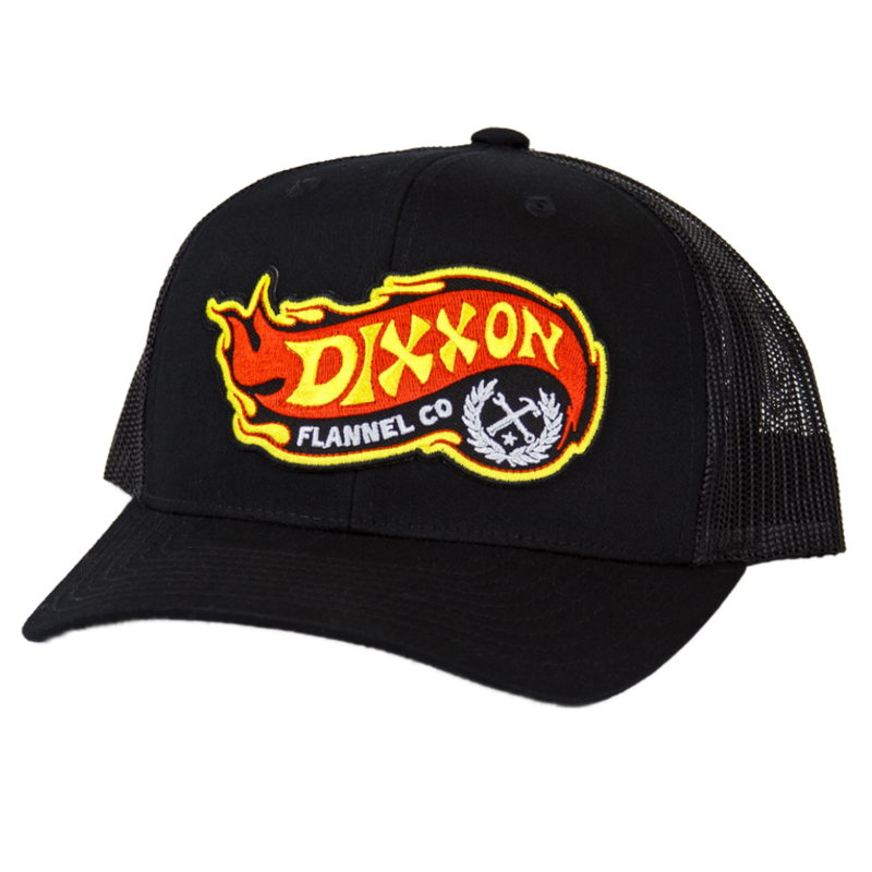 FLAME CURVED TRUCKER HAT BLACK