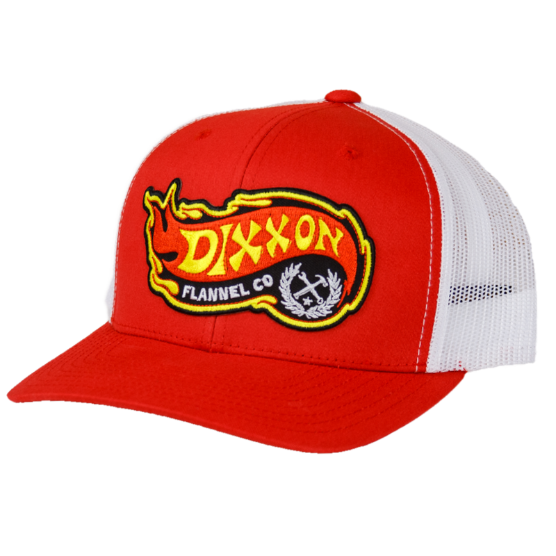 FLAME CURVED TRUCKER HAT RED/WHITE
