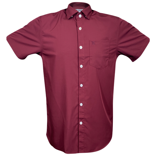 BAMBOO SHORT SLEEVE BUTTON UP MAROON 2.0 - MENS