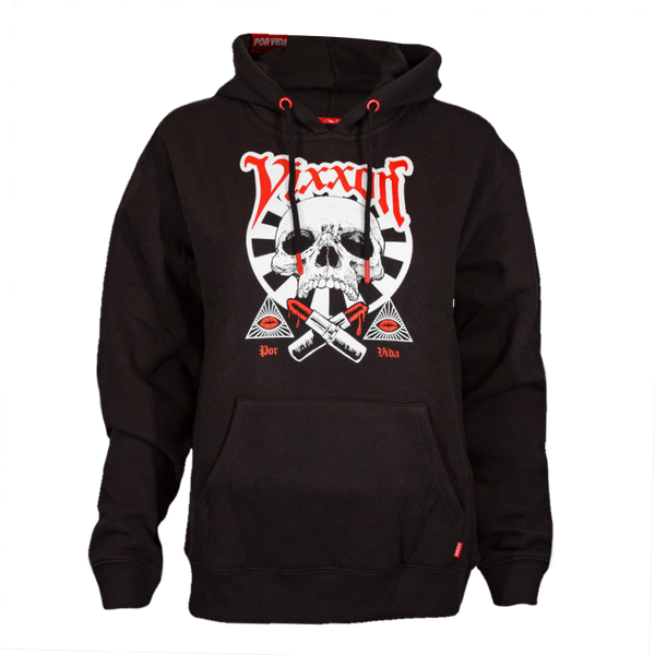 LIPSTICK OR DEATH VIXXON HOODIE BLACK - WOMENS