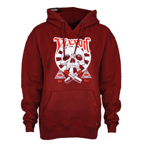 LIPSTICK OR DEATH VIXXON HOODIE BURGUNDY - WOMENS