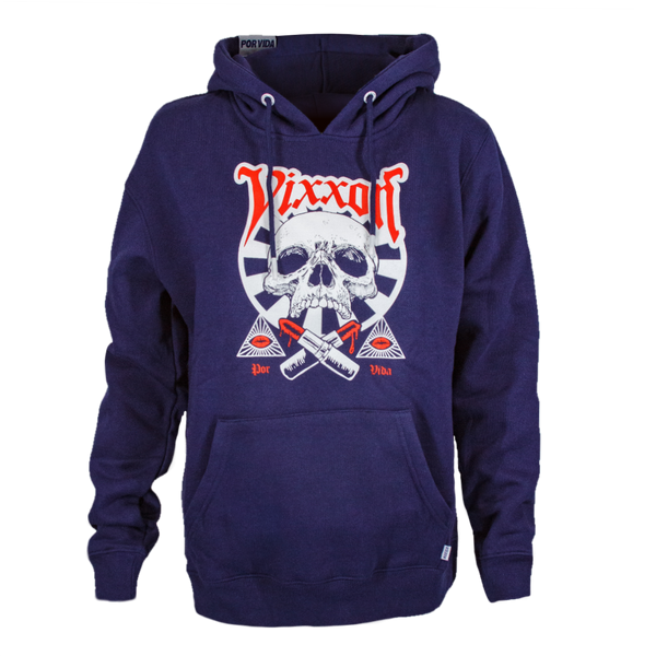 LIPSTICK OR DEATH VIXXON HOODIE NAVY - WOMENS
