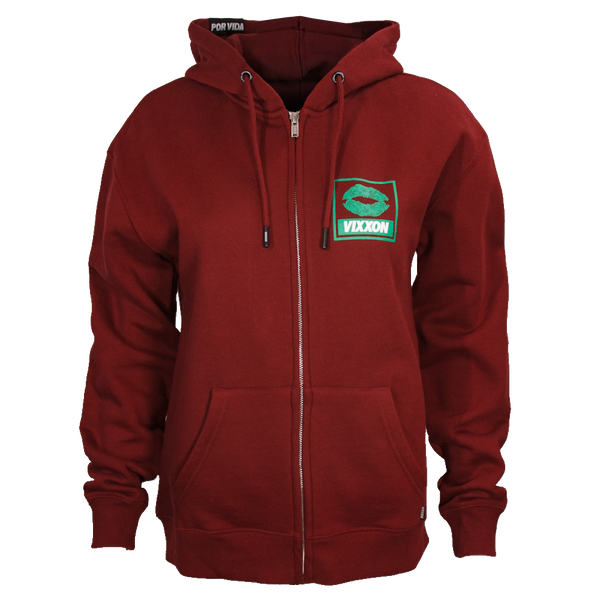 SPLIFF QUEEN ZIP HOODIE BURGUNDY - WOMENS