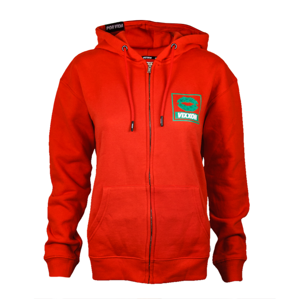 SPLIFF QUEEN ZIP HOODIE RED - WOMENS