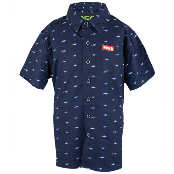 SHARK SHORT SLEEVE BUTTON UP - YOUTH
