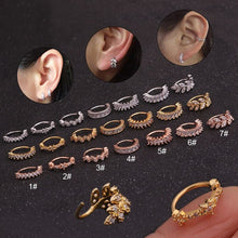 Load image into Gallery viewer, 1pc Tone CZ Helix Cartilage Hoop Earring for Women