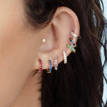 Load image into Gallery viewer, Huggie Hoop Earring Rainbow/Colours