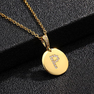 14k Alphabet pendant necklace