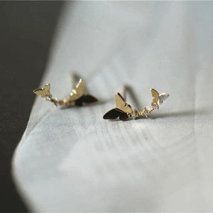 Sterling Sliver Double Butterfly Earrings