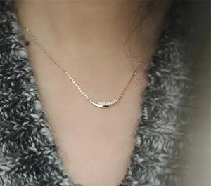 Sterling Silver Pave Wishbone necklace