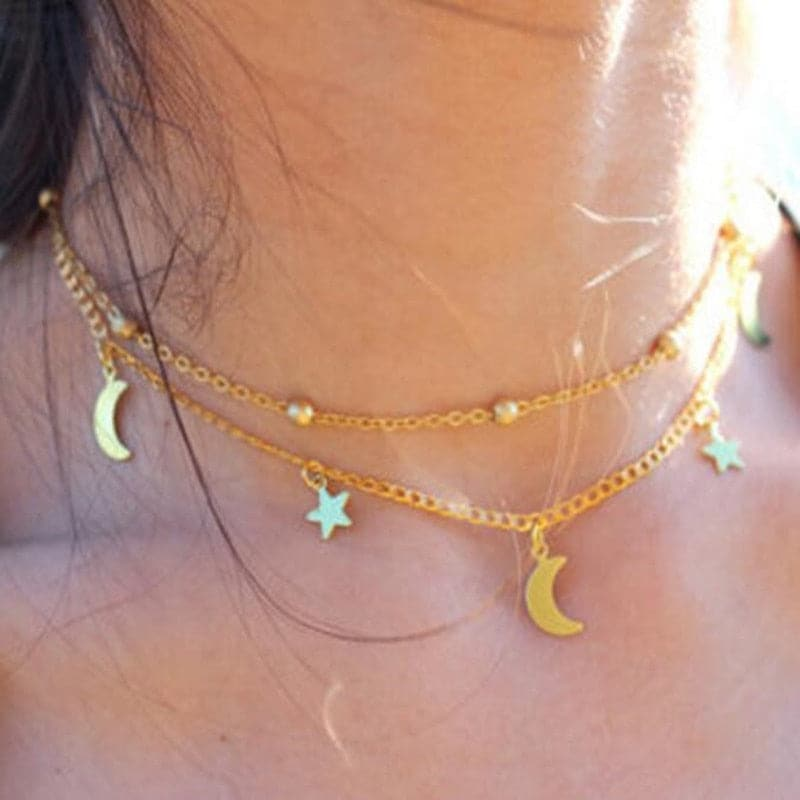 Multi-Layer Moon & Star necklace