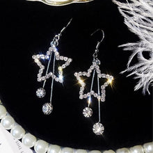 Load image into Gallery viewer, Crystal Star Drop Earrings