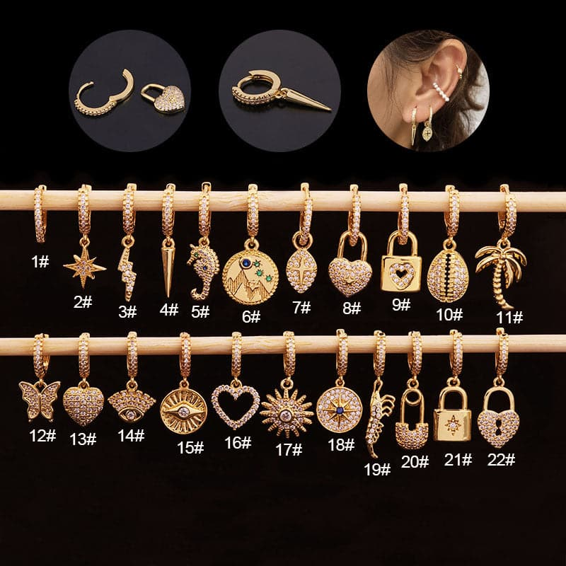 1Piece Unusual Love Heart Lock Earrings for Women Jewelry pendientes Butterfly Sun Stud Earrings Women