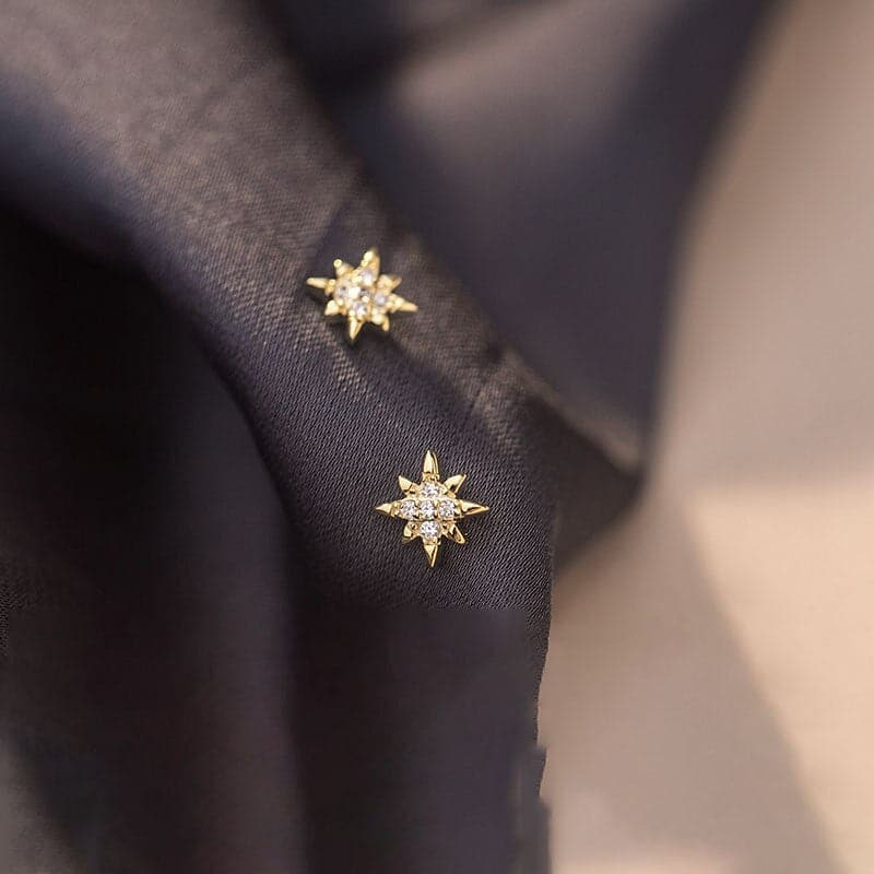 925 Sterling Silver Korean Simple Star Stud Earrings Women Light Luxury Compact Girlfriends Party Jewelry