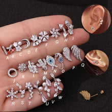 Load image into Gallery viewer, Hot 1piece Steel Copper Fish Hand Tree CZ ear piercing jewelry steel barbell daith earrings helix cartilage studs Piercing