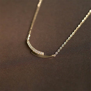 925 Sterling Silver 14K Gold Pavé Crystal Intersection Pendant Clavicle Chain Necklace Women Simple Jewelry Accessories