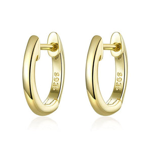 Tiny hoop earrings for women gold Color 925 Sterling Silver Jewelry