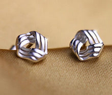 Load image into Gallery viewer, 925 Sterling Triangle Twisted Stud Earrings