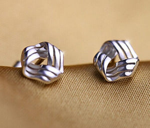 925 Sterling Triangle Twisted Stud Earrings