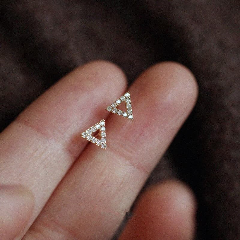 925 sterling silver crystal hollow triangle earrings female 14k gold earrings simple temperament student jewelry