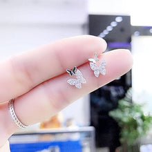 Load image into Gallery viewer, Tiny Zircon Butterfly Earrings
