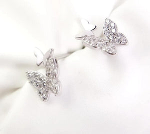 Tiny Zircon Butterfly Earrings