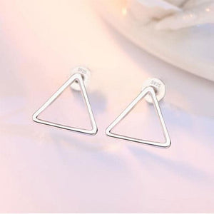 Silver Hollow Geometric Stud Earrings