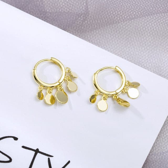 Round Disc Tassel Earrings