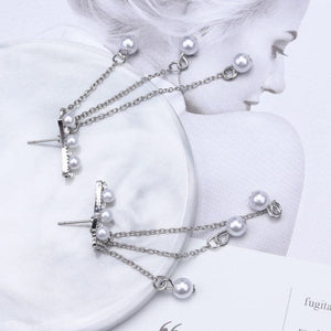 Celestial Pearls tassel Drop Earrings