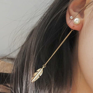 Celestial Feather with Pearl earrings