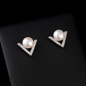 V shape Pearl Stud Earrings