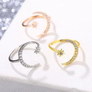 Celestial Moon and Star Sterling Silver Rings