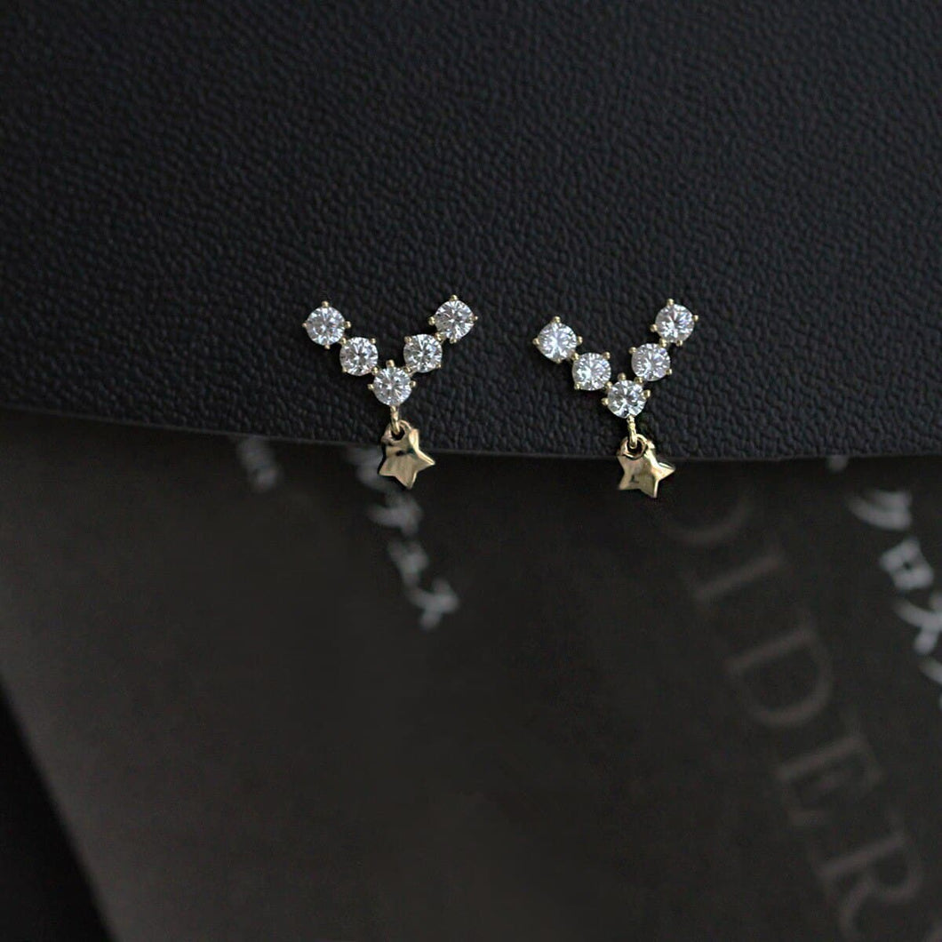 Sterling Silver Classic V-shaped Star Earrings