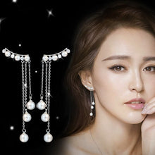 Load image into Gallery viewer, Celestial Pearls tassel Drop Earrings