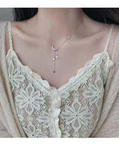 Silver Star Moon Tassel Necklaces