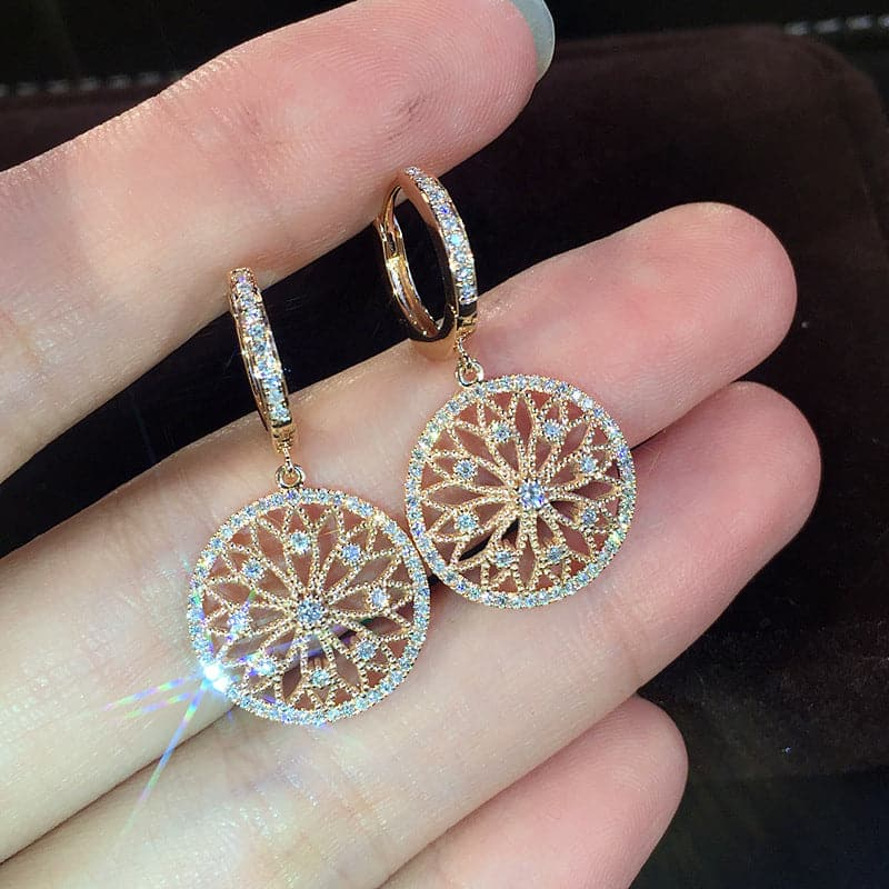 Blooming Flower Round Drop Earrings