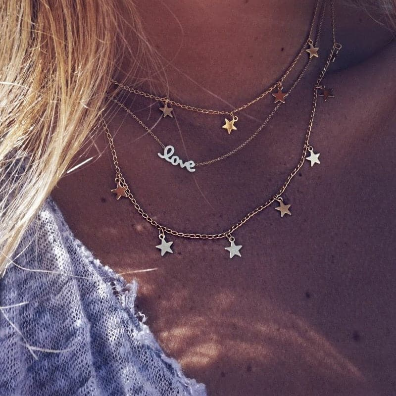 Multi-layer love and star necklace