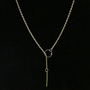Minimalist Long Bar Pendant Necklace