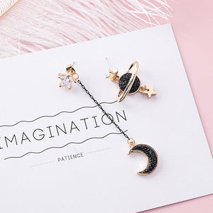Saturn & Moon Pendant earrings