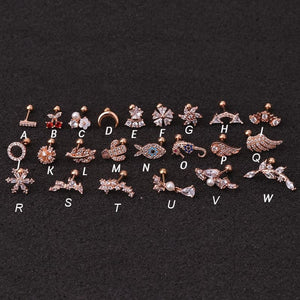 Hot 1piece Steel Copper Fish Hand Tree CZ ear piercing jewelry steel barbell daith earrings helix cartilage studs Piercing
