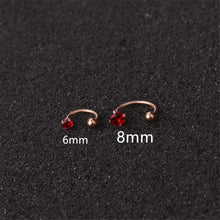 Load image into Gallery viewer, 6mm/8mm C Shape Nose Ring Cubic Zirconia Tragus Helix Cartilage Conch Rook Lobe