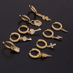 1Pc Cz Hoop With Dangle Earrings for Women Trendy Gold Snake Cross Lighten Shape Drop Earring Jewelry