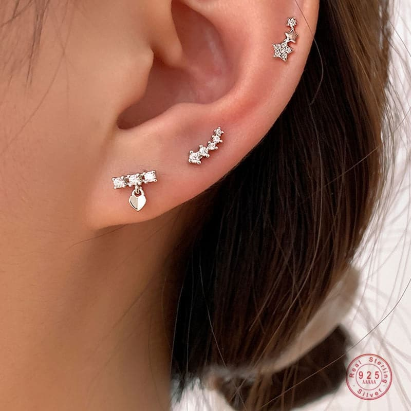 925 Sterling Silver Korean Version Simple Star Combination Stud Earrings Women Fashion Temperament