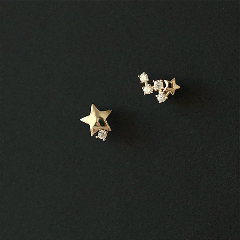 925 Sterling Silver Japanese Asymmetric Star Stud Earrings Women Modern Simple Student Party 14k Gold Jewelry