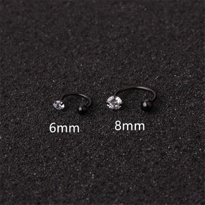 6mm/8mm C Shape Nose Ring Cubic Zirconia Tragus Helix Cartilage Conch Rook Lobe