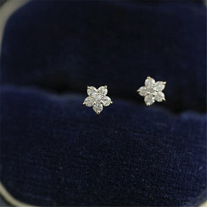 925 Sterling Silver Plated 14k Gold Pavé Crystal Five-pointed Star Earrings Women Simple
