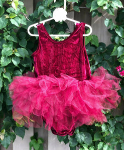 Wine velvet Short Sleeves TUTU